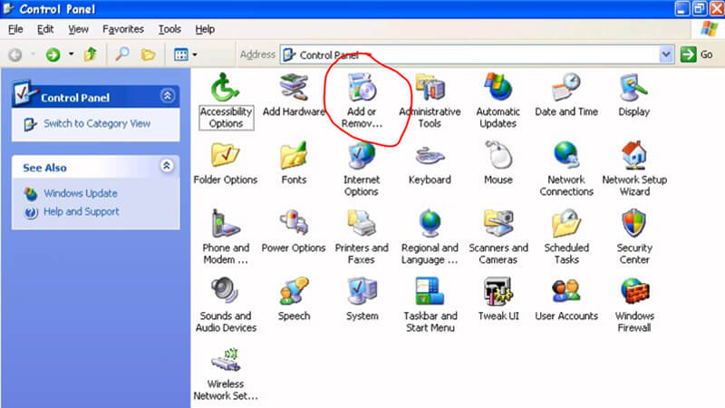 Uninstall Audials Software in Windows XP PC/laptop